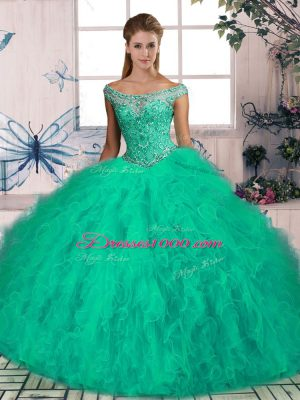 Sleeveless Beading and Ruffles Lace Up Sweet 16 Dress with Turquoise Brush Train