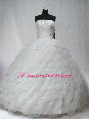 White Sleeveless Beading and Ruching Lace Up Quince Ball Gowns