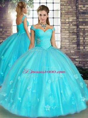 Aqua Blue Off The Shoulder Neckline Beading and Appliques Vestidos de Quinceanera Sleeveless Lace Up