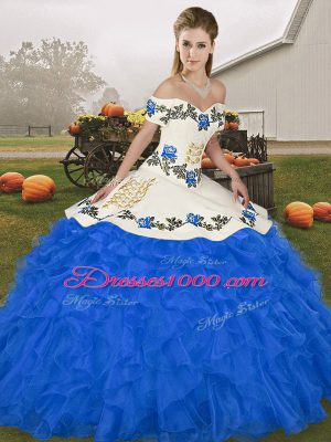Royal Blue Vestidos de Quinceanera Military Ball and Sweet 16 and Quinceanera with Embroidery and Ruffles Off The Shoulder Sleeveless Lace Up