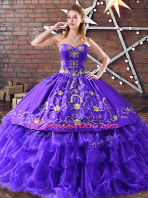 Purple Satin and Organza Lace Up Sweetheart Sleeveless Floor Length Quinceanera Gowns Embroidery and Ruffled Layers