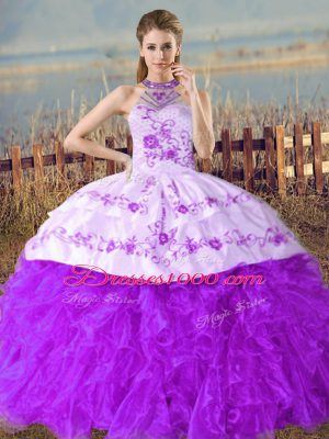 Cute Sleeveless Floor Length Embroidery and Ruffles Lace Up Quinceanera Dresses with Purple Court Train