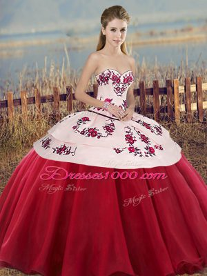 Tulle Sleeveless Floor Length Sweet 16 Dress and Embroidery and Bowknot