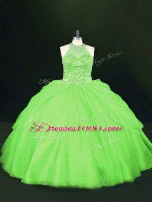 Noble Floor Length Ball Gown Prom Dress Tulle Sleeveless Beading