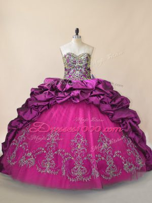 Customized Purple Sleeveless Brush Train Beading and Pick Ups Vestidos de Quinceanera
