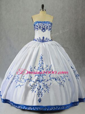 Edgy Blue And White Ball Gowns Satin Strapless Sleeveless Embroidery Floor Length Lace Up Ball Gown Prom Dress