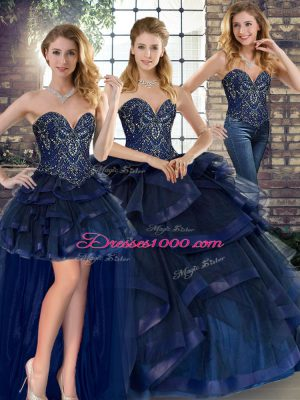 Nice Navy Blue Tulle Lace Up Vestidos de Quinceanera Sleeveless Floor Length Beading and Ruffles