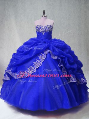 Royal Blue Ball Gowns Organza Sweetheart Sleeveless Beading and Appliques and Pick Ups Floor Length Lace Up Quinceanera Dress