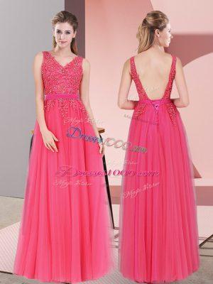 Custom Design Tulle V-neck Sleeveless Backless Lace Dress for Prom in Hot Pink