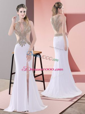 Pretty White Lace Up Scoop Beading and Lace Prom Gown Chiffon Sleeveless Sweep Train