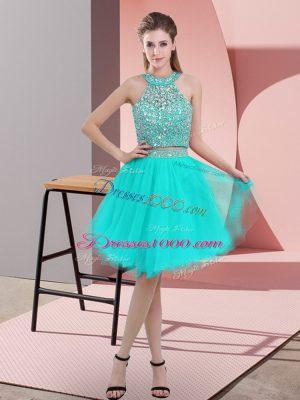 Most Popular Sleeveless Backless Knee Length Beading Prom Dresses