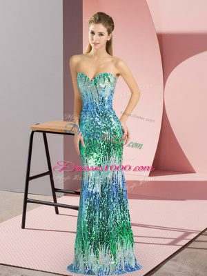 Stunning Multi-color Sweetheart Lace Up Beading and Sequins Prom Evening Gown Sleeveless