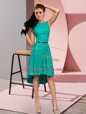 Turquoise Two Pieces Belt Prom Evening Gown Lace Up Sleeveless High Low