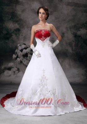 Wine Red Appliques Court Train Golden wedding Dress