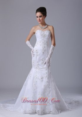 Lace Wedding Dress with Beading Mermaid Style