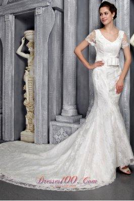 Short Sleeves Sheath V-neck Lace Wedding Dress Chapel Train