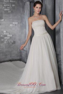 Strapless Sheath Princess Cathedral Train Chiffon Wedding Gown