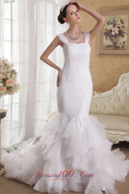 Mermaid Straps Court Train Satin and Organza Bridal Gown