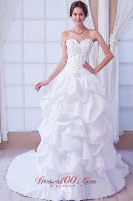 Princess Sweetheart Ball Gown Taffeta Spring Wedding Gown