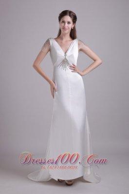 White Column V-neck Brush Train Taffeta beading Wedding dress