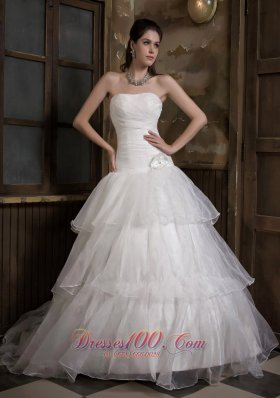 A-line Strapless Sweep Train Taffeta and Organza Wedding Gown