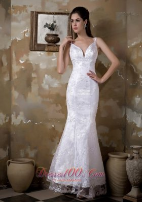 Mermaid Strapless Floor-length Satin and Lace Wedding Dress