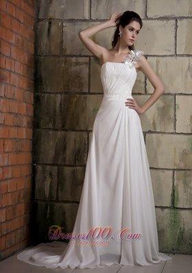 Wedding Dress One Shoulder Hand Made Flower Chiffon Court Train