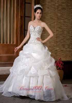 Unique Sweetheart Beading and Pick-ups Wedding Bridal Gown