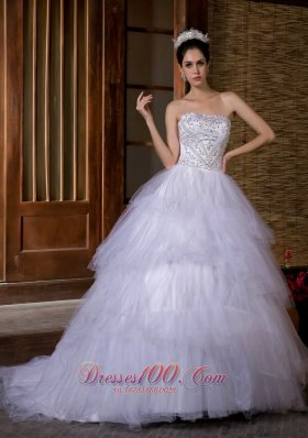 Ball Gown Strapless Chapel Train Wedding Gown Dresses