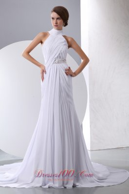 Halter Beading and Ruch Chapel Train Wedding Gown