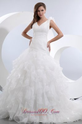 A-line V-neck Ruffles and Ruch Wedding Dresses Gowns