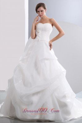 Sweetheart A-line Pick-ups Champel Train Wedding Gown