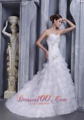 Cascading Ruffles Bridal Gowns Sweetheart Court Appliques