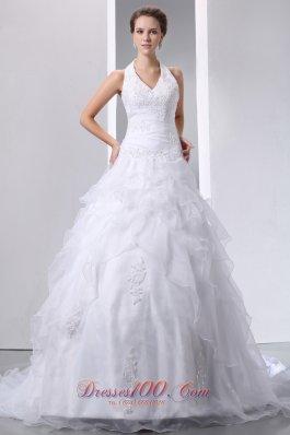 Halter Court Train Organza Bridal Gowns