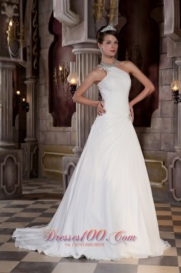 Beautiful One Shoulder Court Train Chiffon Bridal Gowns