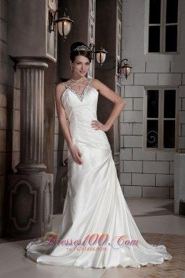 Fashionable Beaded V-neck Satin Ruchings Wedding Dress
