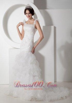 Floral Mermaid Straps Ruchings Wedding Dress Organza