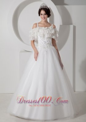 Beautiful A-line Straps Wedding Dress Tulle Appliques