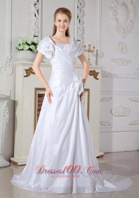 Special Square Neckline Wedding Dress Taffeta On Sale