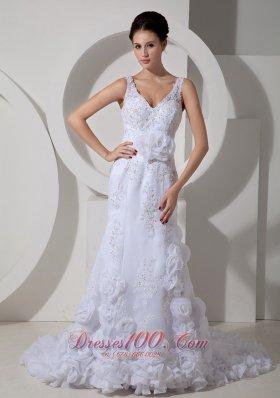 Sexy V-neck Floral Satin Sash Bridal Dresses