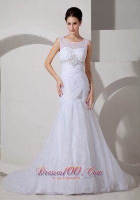 Unique Wedding Dress Mermaid Scoop Appliques