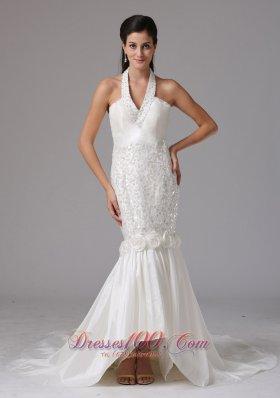 Romantic Mermaid Halter Beaded Wedding Dress