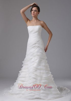 Classic Ruffled Layers and Ruched Bodice Bridal Dresses