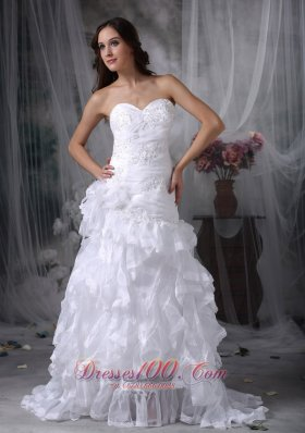 Perfect Sweetheart Wedding Dress Organza Appliques