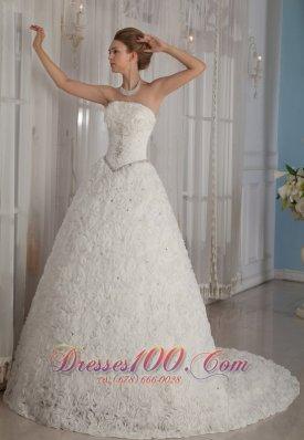 Romantic Rolling Flowers Princess Beading Wedding Dress