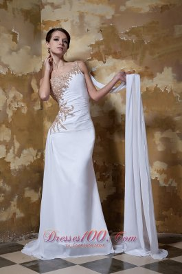 Glitz One Shoulder Brush Train Chiffon Evening Dress