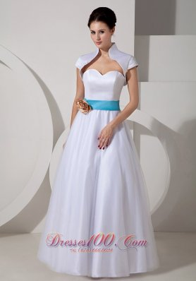 Sweetheart Sash A-line Bridal Wedding Dress Taffeta
