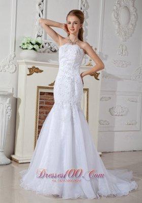 Mermaid Wedding Dress Court Train Appliques Katherine Style