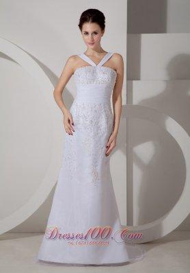 Customize Simply Wedding Dress Column V-neck Appliques Strap