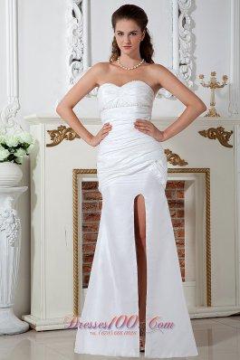 Unique Keyhole Beach Wedding Dress Slit Column Floor-length